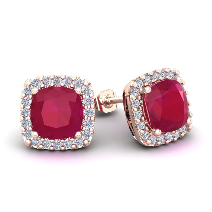 4 Carat Cushion Cut Ruby & Halo Diamond Stud Earrings in 14K Rose
