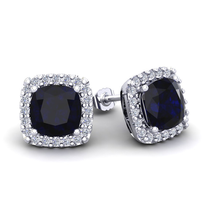 4 Carat Cushion Cut Sapphire & Halo Diamond Stud Earrings in 14K