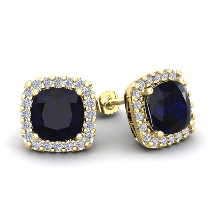 4 Carat Cushion Cut Sapphire & Halo Diamond Stud Earrings in 14K Yellow Gold (3.5 g), I/J by SuperJeweler