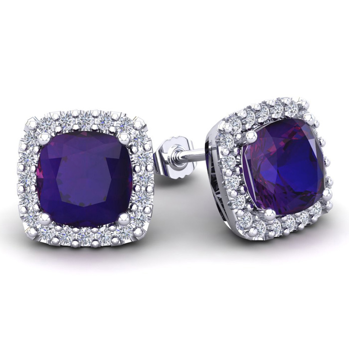 4 3/4 Carat Cushion Cut Amethyst & Halo Diamond Stud Earrings in