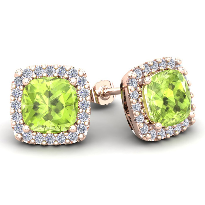 5 3/4 Carat Cushion Cut Peridot & Halo Diamond Stud Earrings in 14K Rose Gold (3.7 g), I/J by SuperJeweler