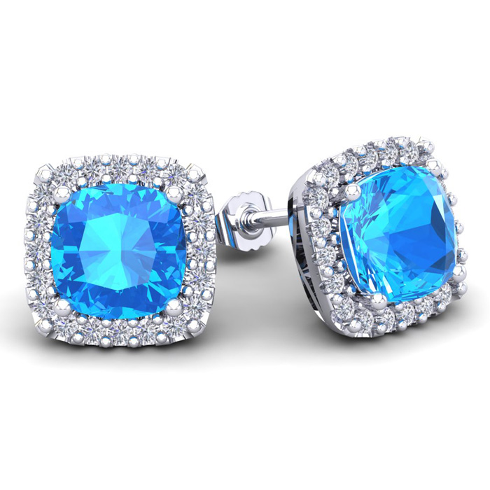 6 Carat Cushion Cut Blue Topaz and
