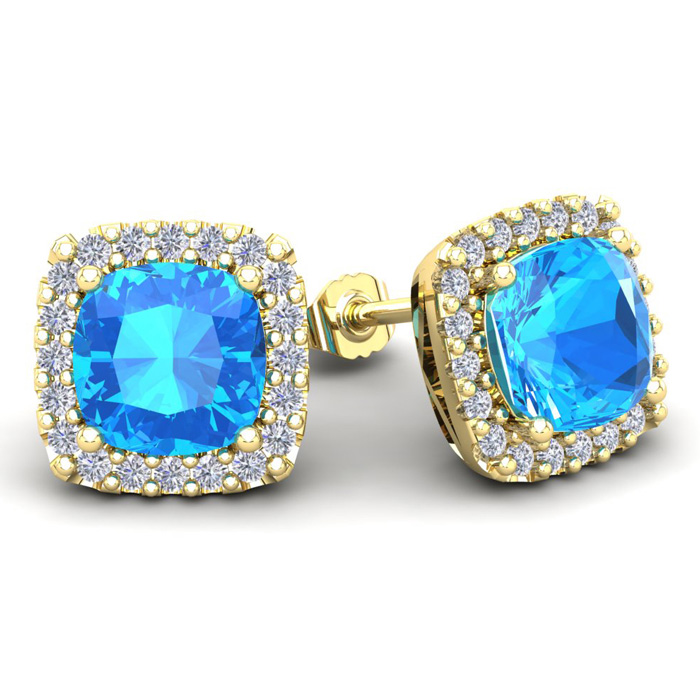 6 Carat Cushion Cut Blue Topaz & Halo Diamond Stud Earrings in 14K Yellow Gold (3.7 g), I/J by SuperJeweler