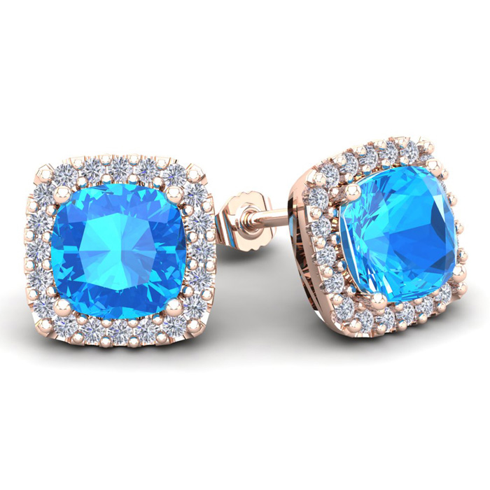 6 Carat Cushion Cut Blue Topaz & Halo Diamond Stud Earrings in 14
