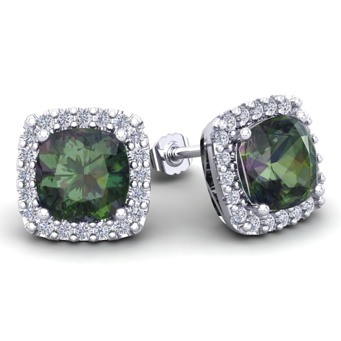 4 3/4 Carat Cushion Cut Mystic Topaz & Halo Diamond Stud Earrings