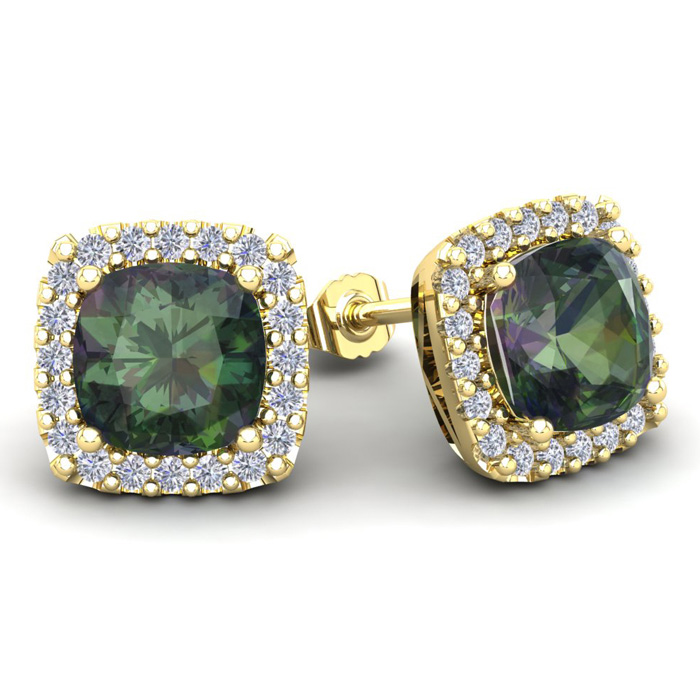 4 3/4 Carat Cushion Cut Mystic Topaz & Halo Diamond Stud Earrings in 14K Yellow Gold (3.7 g), I/J by SuperJeweler
