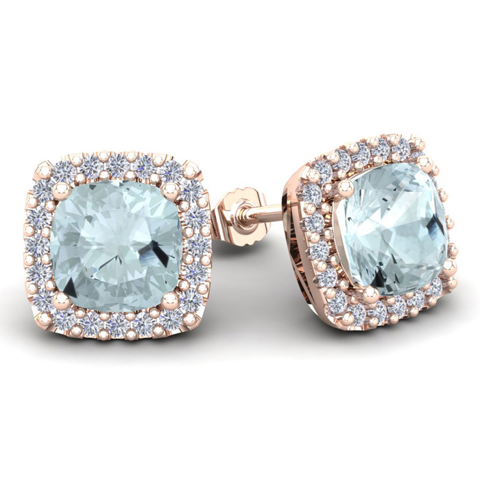 4 3/4 Carat Cushion Cut Aquamarine & Halo Diamond Stud Earrings i