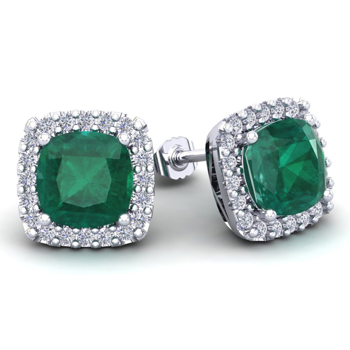 4 3/4 Carat Cushion Cut Emerald and Halo Diamond Stud Earrings In 14 Karat W..