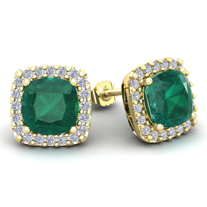 4 3/4 Carat Cushion Cut Emerald & Halo Diamond Stud Earrings in 14K Yellow Gold (3.7 g), I/J by SuperJeweler