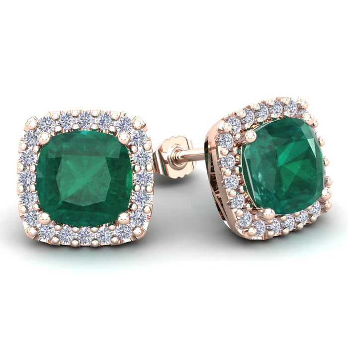 4 3/4 Carat Cushion Cut Emerald & Halo Diamond Stud Earrings in 14K Rose Gold (3.7 g), I/J by SuperJeweler