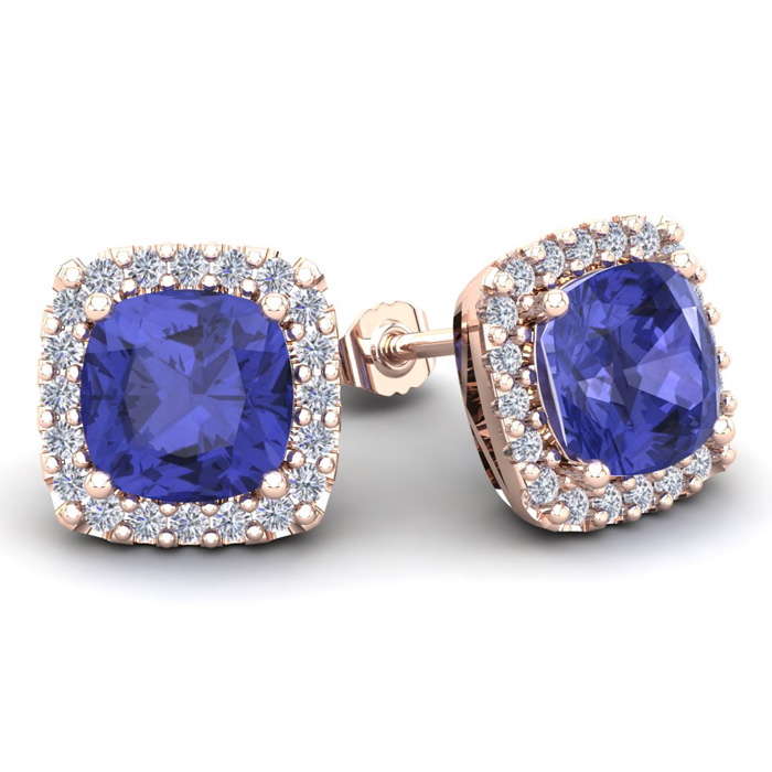 5 3/4 Carat Cushion Cut Tanzanite & Halo Diamond Stud Earrings in