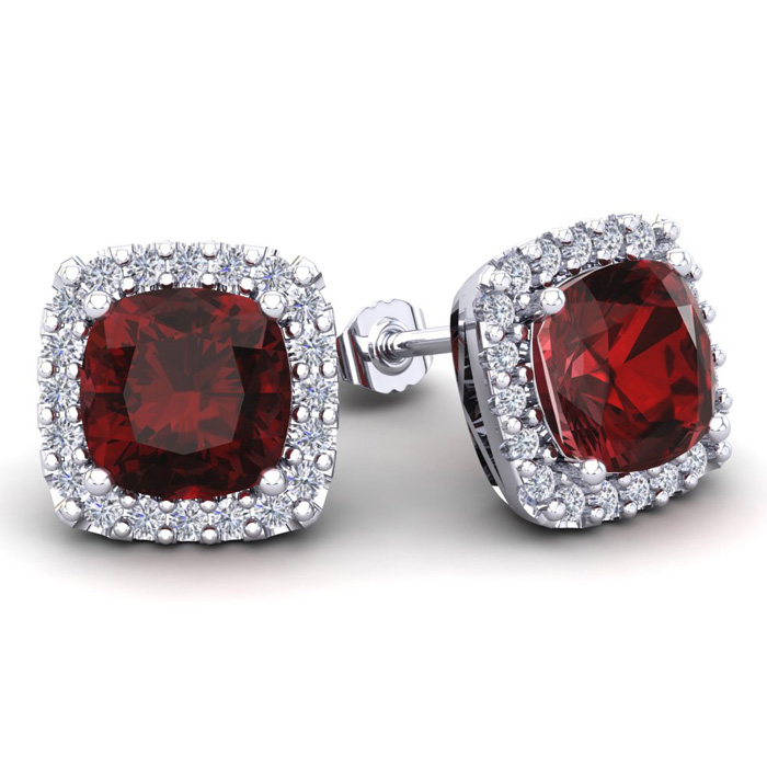 7 Carat Cushion Cut Garnet & Halo Diamond Stud Earrings in 14K Wh
