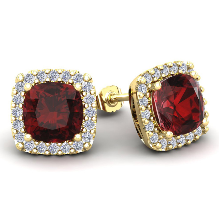 7 Carat Cushion Cut Garnet & Halo Diamond Stud Earrings in 14K Ye