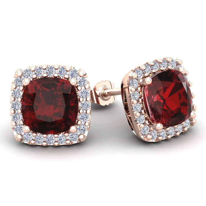 7 Carat Cushion Cut Garnet & Halo Diamond Stud Earrings in 14K Ro