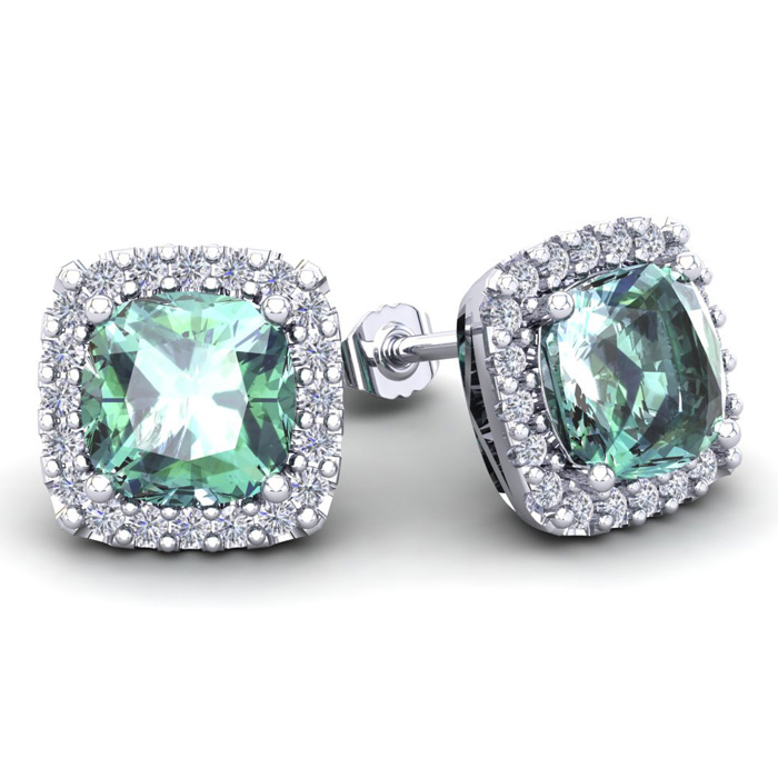 4 3/4 Carat Cushion Cut Green Amethyst & Halo Diamond Stud Earrings in 14K White Gold (3.7 g), I/J by SuperJeweler