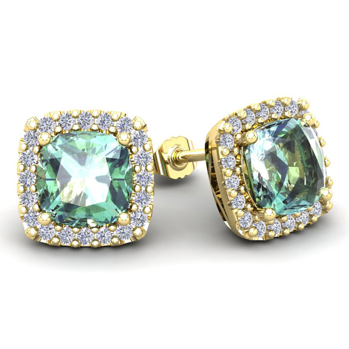 4 3/4 Carat Cushion Cut Green Amethyst & Halo Diamond Stud Earrin