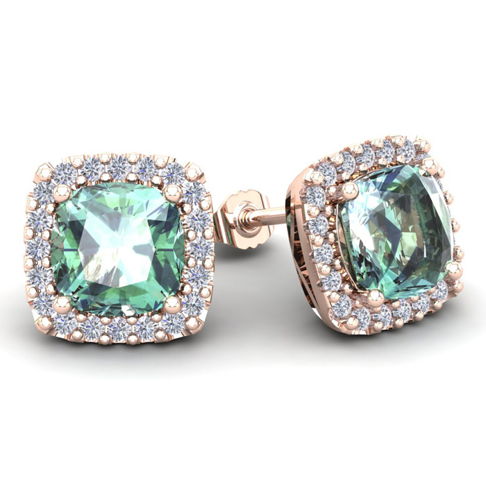 4 3/4 Carat Cushion Cut Green Amethyst & Halo Diamond Stud Earrings in 14K Rose Gold (3.7 g), I/J by SuperJeweler