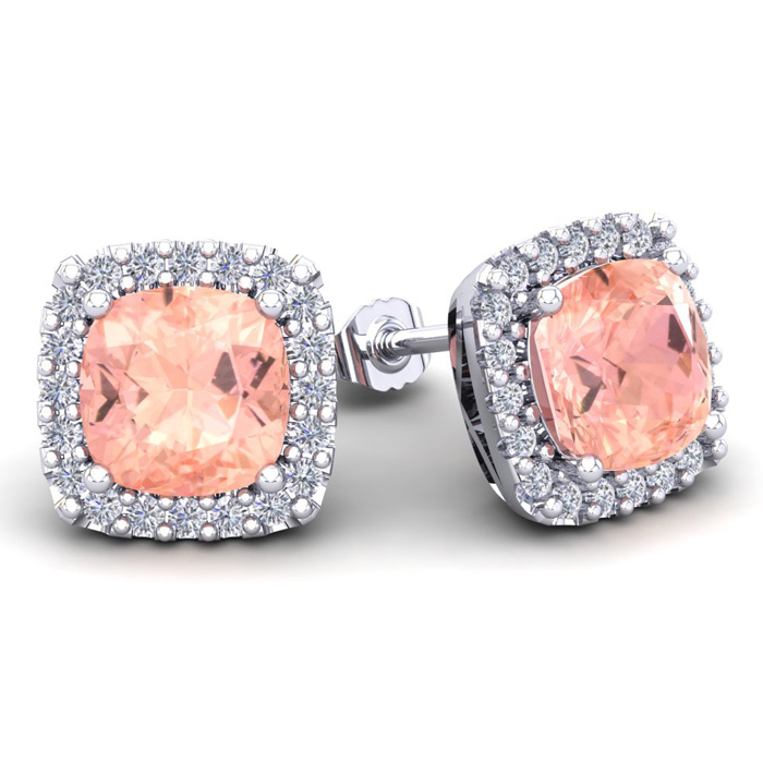 6 3/4 Carat Cushion Cut Morganite & Halo Diamond Stud Earrings in 14K White Gold (3.7 g), I/J by SuperJeweler