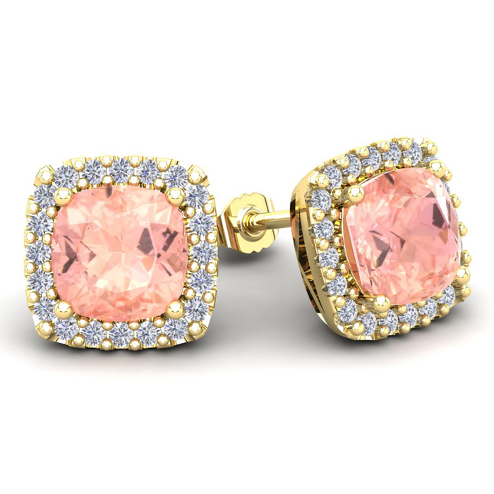 6 3/4 Carat Cushion Cut Morganite & Halo Diamond Stud Earrings in 14K Yellow Gold (3.7 g), I/J by SuperJeweler