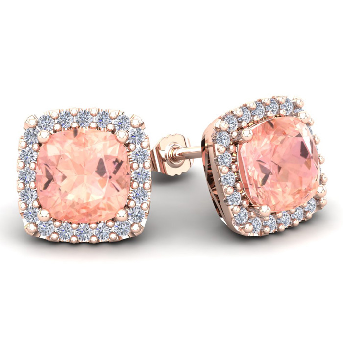 6 3/4 Carat Cushion Cut Morganite & Halo Diamond Stud Earrings in