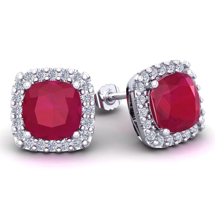 6 3/4 Carat Cushion Cut Ruby & Halo Diamond Stud Earrings in 14K