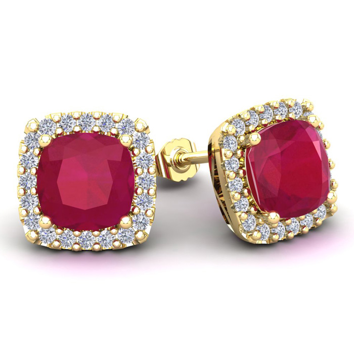6 3/4 Carat Cushion Cut Ruby & Halo Diamond Stud Earrings in 14K Yellow Gold (3.7 g), I/J by SuperJeweler