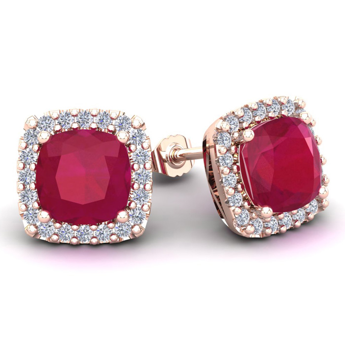6 3/4 Carat Cushion Cut Ruby & Halo Diamond Stud Earrings in 14K Rose Gold (3.7 g), I/J by SuperJeweler