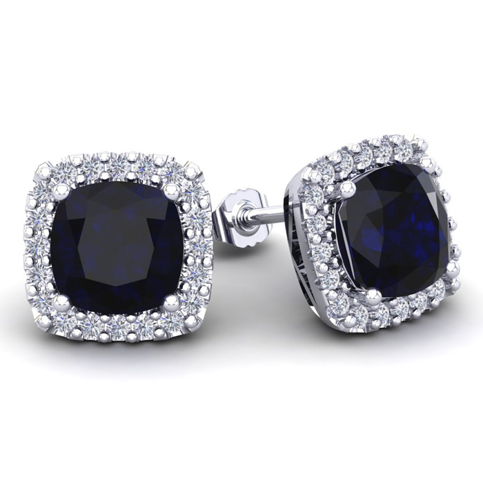 6 3/4 Carat Cushion Cut Sapphire & Halo Diamond Stud Earrings in 14K White Gold (3.7 g), I/J by SuperJeweler