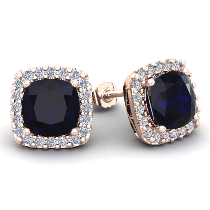 6 3/4 Carat Cushion Cut Sapphire & Halo Diamond Stud Earrings in 14K Rose Gold (3.7 g), I/J by SuperJeweler