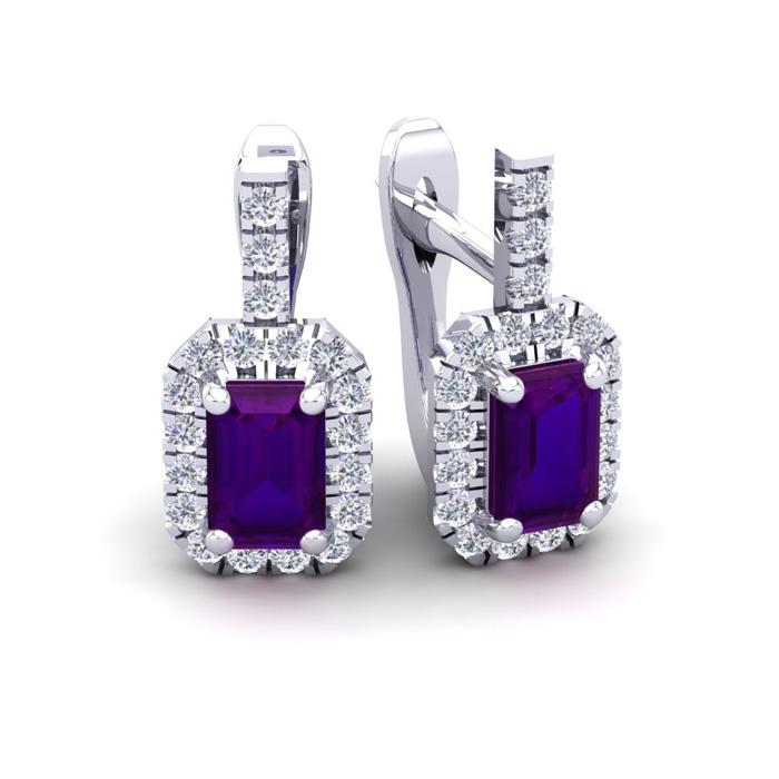 1.5 Carat Amethyst & Halo Diamond Dangle Earrings in 14K White Go