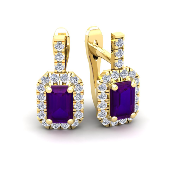 1.5 Carat Amethyst & Halo Diamond Dangle Earrings in 14K Yellow G