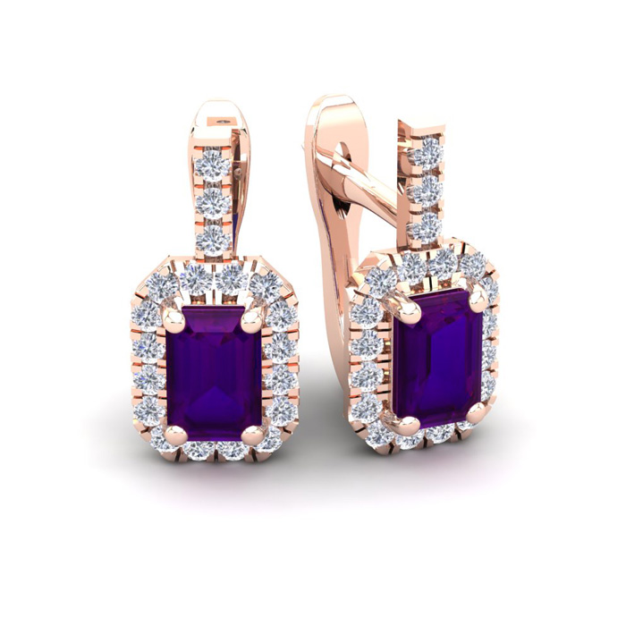 1.5 Carat Amethyst & Halo Diamond Dangle Earrings in 14K Rose Gol