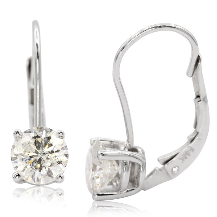 1.5 Carat Diamond Leverback Earrings in 14K White Gold (1.5 g), I/J by SuperJeweler