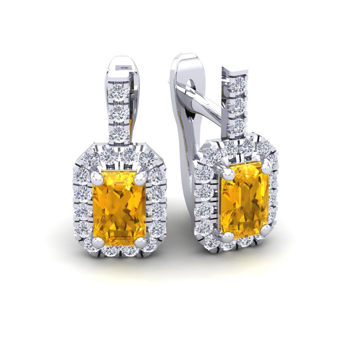 1.5 Carat Citrine & Halo Diamond Dangle Earrings in 14K White Gold (3.4 g), I/J by SuperJeweler