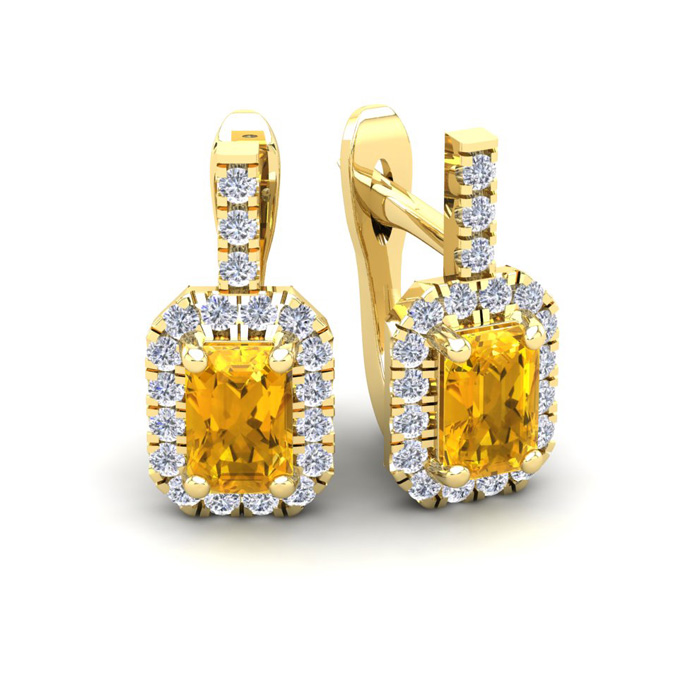 1.5 Carat Citrine & Halo Diamond Dangle Earrings in 14K Yellow Go