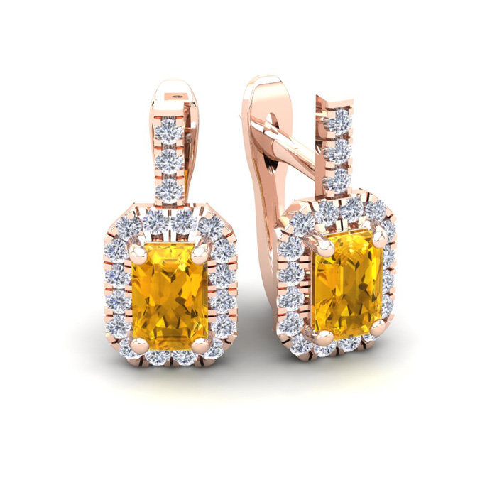 1 1/2 Carat Emerald Cut Citrine and Halo Diamond Dangle Earrings In 14 Karat..