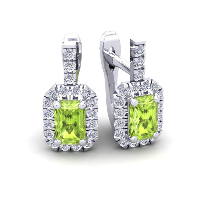 1 3/4 Carat Peridot & Halo Diamond Dangle Earrings in 14K White G