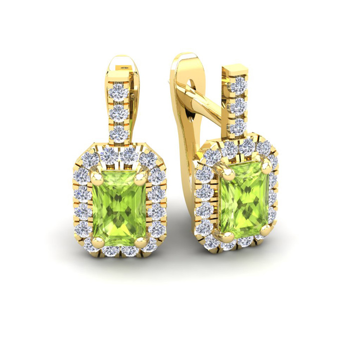 1 3/4 Carat Peridot & Halo Diamond Dangle Earrings in 14K Yellow