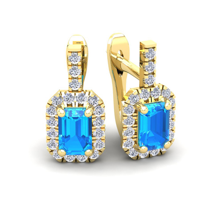 1 3/4 Carat Blue Topaz & Halo Diamond Dangle Earrings in 14K Yell