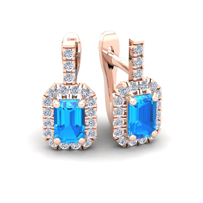 1 3/4 Carat Blue Topaz & Halo Diamond Dangle Earrings in 14K Rose