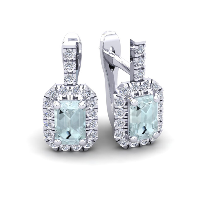 1 2/3 Carat Aquamarine & Halo Diamond Dangle Earrings in 14K Whit