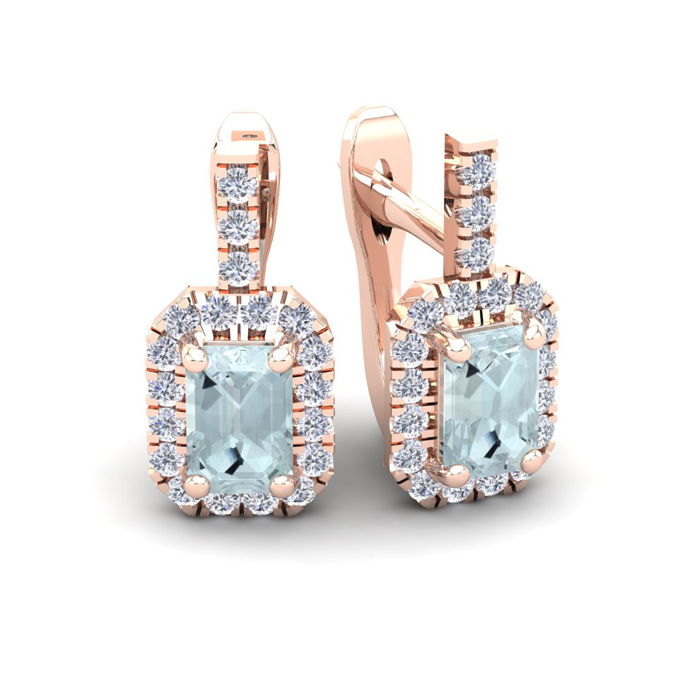 1 3/4 Carat Emerald Cut Aquamarine and Halo Diamond Dangle Earrings In 14 Ka..