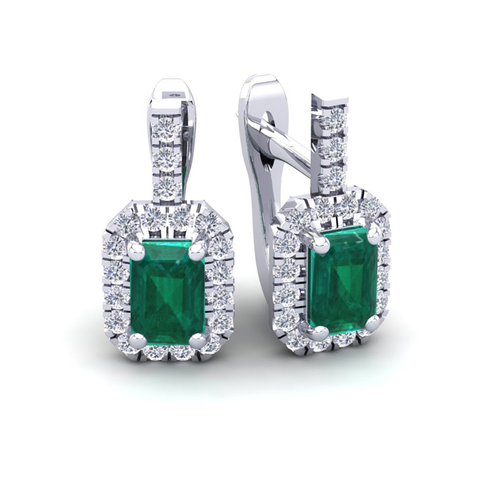 1 2/3 Carat Emerald Cut Emerald and Halo Diamond Dangle Earrings In 14 Karat White Gold