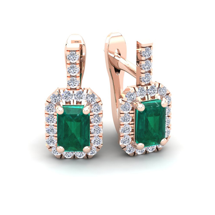 1 2/3 Carat Emerald Cut Emerald and Halo Diamond Dangle Earrings In 14 Karat Rose Gold
