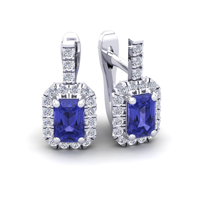 1 3/4 Carat Tanzanite & Halo Diamond Dangle Earrings in 14K White