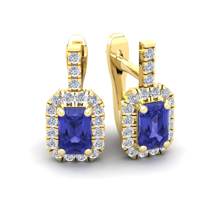 1 3/4 Carat Tanzanite & Halo Diamond Dangle Earrings in 14K White Gold (3.4 g), I/J by SuperJeweler