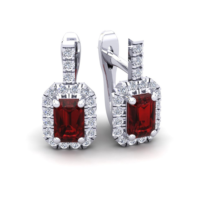 2 Carat Garnet & Halo Diamond Dangle Earrings in 14K White Gold (