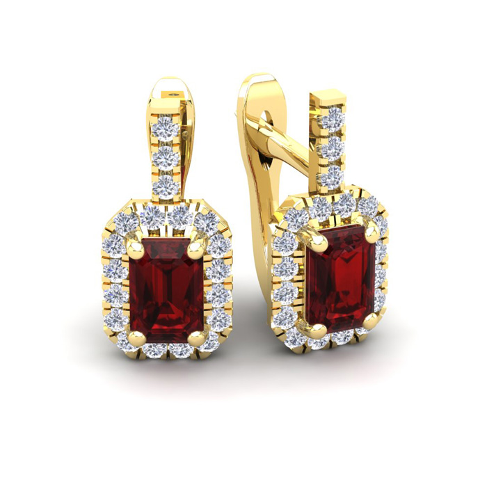 2 Carat Garnet & Halo Diamond Dangle Earrings in 14K Yellow Gold