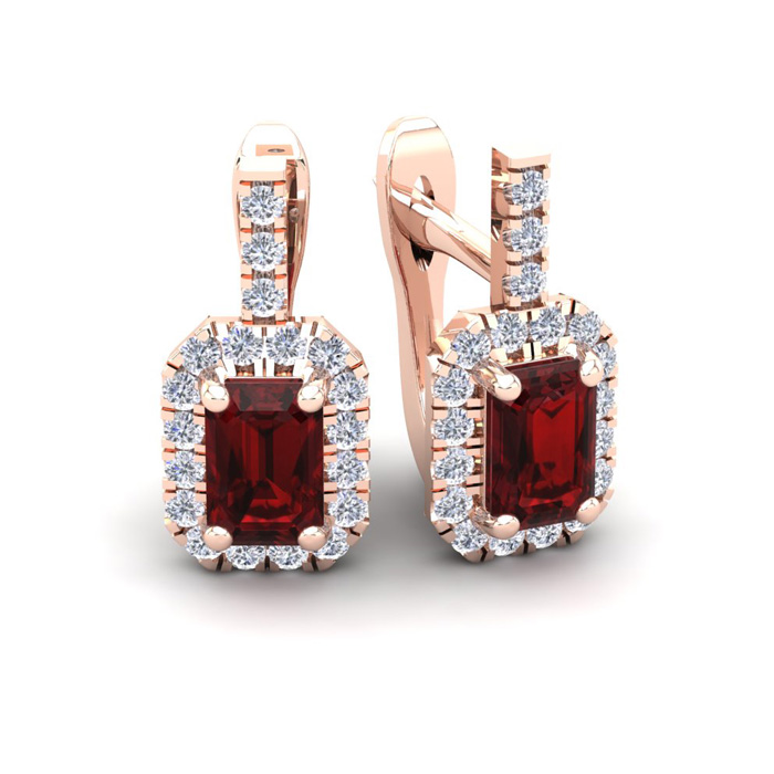 2 Carat Garnet & Halo Diamond Dangle Earrings in 14K Rose Gold (3
