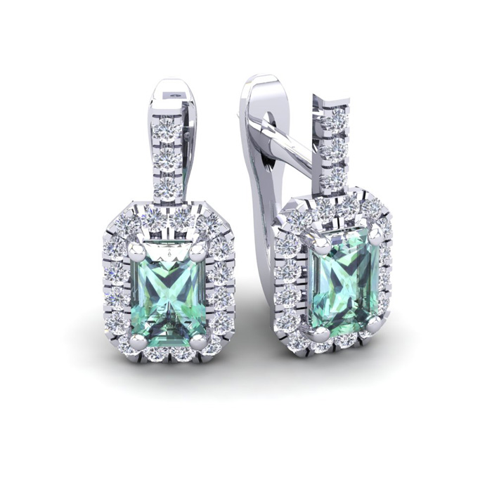 1.5 Carat Green Amethyst & Halo Diamond Dangle Earrings in 14K White Gold (3.4 g), I/J by SuperJeweler